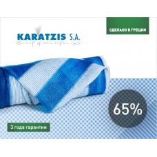 Сітка затінююча біло-блакитна KARATZIS 65% 50х6м