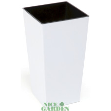 Горшок пластиковый Финезия с вкладкой Белый 400*400