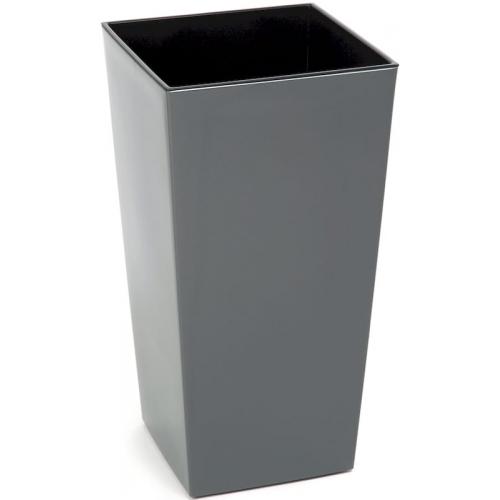 Горшок пластиковый Финезия с вкладкой Серый (Антрацит) 140*140