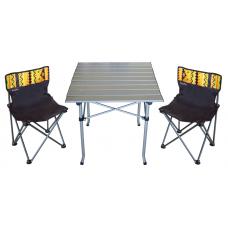 Стол раскладной алюминиевый и 2 стула со спинкой Sunday 73-813